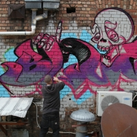 thumbs img 0176   Snapshots   Kiss FM Paint up with SDM & ADN   street art genres paintups urban art painting genres melbourne live art urban art inurban images media graffiti genres events urban art