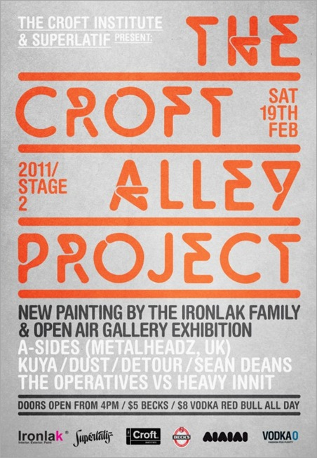 TheCroftLaneway2e1297370046133 thumb1   Event – Croft Alley Project   Stage 2   VIC   live art urban art events