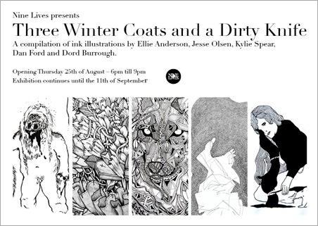 wintercoatsflyer thumb Exhibition Three Winter Coats and a Dirty Knife QLD in prints genres illustration genres exhibitions brisbane