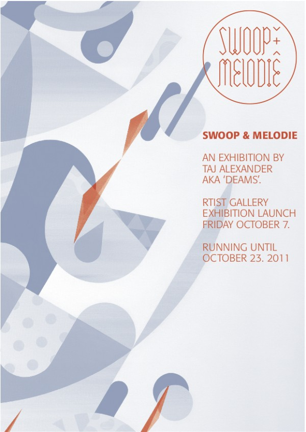 Swoop MelodieFlyer .2 600x847 Exhibition Swoop & Melodie Taj Alexander Melbourne in street art genres painting genres melbourne graphic design genres graffiti genres galleries urban art exhibitions