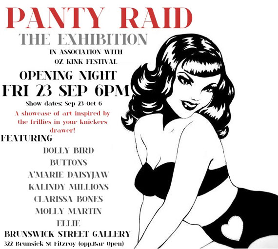 panty raid brunswick   Exhibition   Panty Raid Group Show   Melbourne   photography genres painting genres mixed media genres melbourne illustration genres galleries urban art fine ary exhibitions erotica