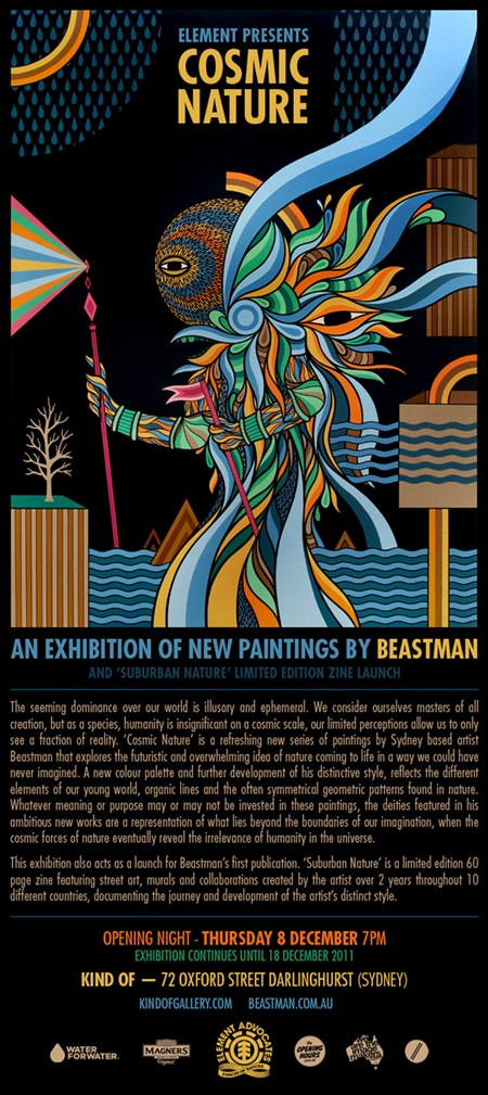 newsletter cosmicnature thumb Exhibition Beastman Cosmic Nature Sydney in sydney street art genres painting genres exhibitions