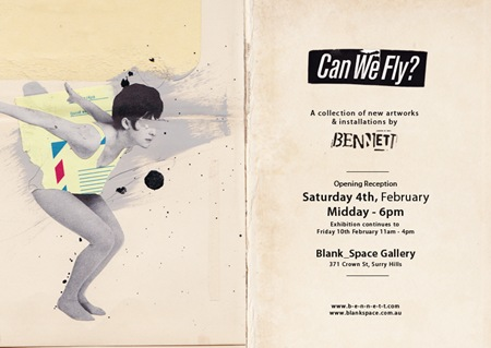 CanWeFlyer Flyer web thumb   Exhibition & Preview   Bennett   Can We Fly   Sydney   sydney stencil art genres previews urban art mixed media genres illustration genres exhibitions