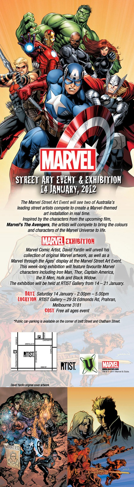 MARVEL Street Art Event Einvite thumb   Exhibition   Marvel Street Art Event   RTIST   Melbourne   street art genres melbourne live art urban art installations genres graffiti genres exhibitions comics genres events