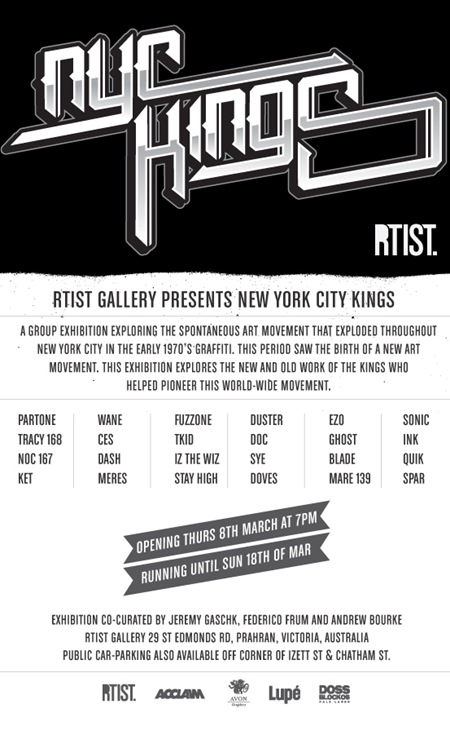 RTIST NYCKINGS Eflyer thumb   Exhibition   New York City Kings   RTIST Gallery   Melbourne   prints genres painting genres melbourne illustration genres graffiti genres exhibitions