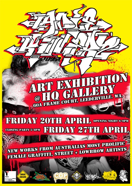 LK EXHIB WEB thumb Exhibition & Wall Jam Ladie Killerz HQ Gallery Perth in street art genres perth graffiti genres galleries urban art exhibitions events