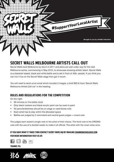 SWMelbourneArtistCallOut thumb   Artist Callout   Secret Walls   Melbourne   street art genres painting genres melbourne live art urban art illustration genres competition urban art