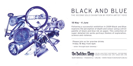 EFLYER b thumb   Exhibition   Black & Blue   Yohyo   The Butcher Shop   Perth   perth illustration genres galleries urban art fine ary exhibitions events