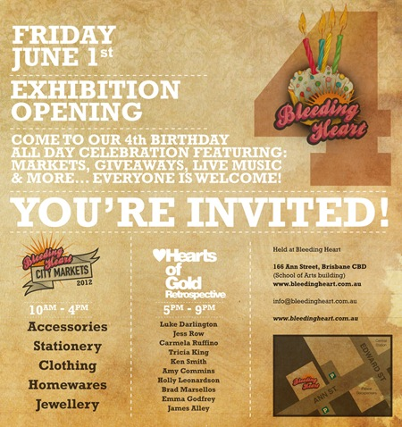 bh4bdayeinvite2012 thumb Exhibition Bleeding Heart 4th Birthday Brisbane in painting genres mixed media genres markets urban art jewellery genres illustration genres fashion exhibitions brisbane