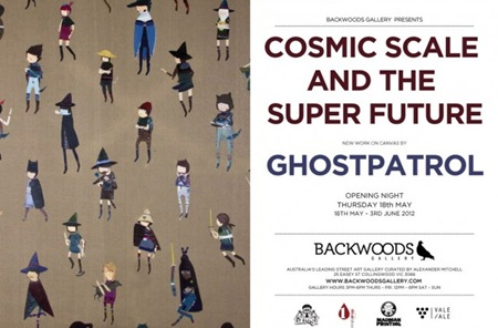 gp backwoods639x420 thumb   Exhibition   Cosmic Scale and The Super Future   Ghostpatrol   Backwoods Gallery   Collingwood   street art genres melbourne galleries urban art fine ary exhibitions events