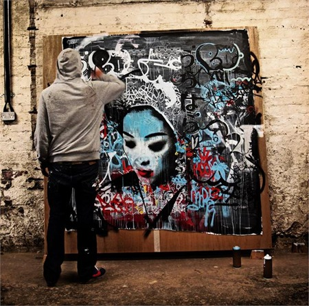 hush studio.125511 thumb   Interview   Hush   street art genres painting genres mixed media genres melbourne international graffiti genres artist interviews