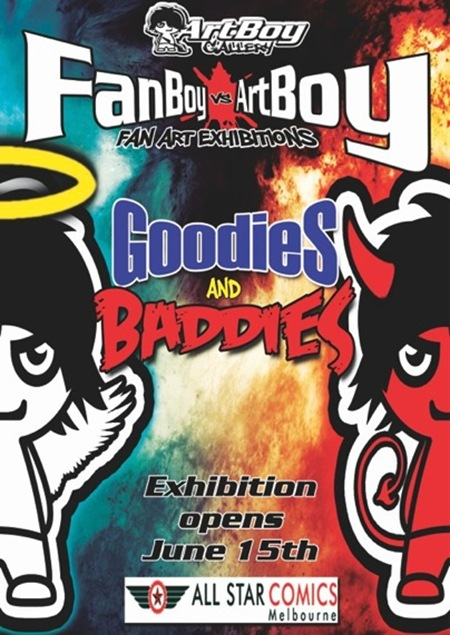 GANDBwebsize thumb   Exhibition   Fanboy vs Artboy   Goodies vs Baddies   Melbourne   stencil art genres painting genres mixed media genres melbourne illustration genres graphic design genres exhibitions digital genres comics genres books