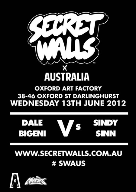 SecretWalls2012600x848 thumb Live Art & Event Secret Walls Round #1 Sydney in sydney street art genres painting genres live art urban art illustration genres