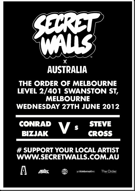 uploadedfile 129850712637048750 001 thumb   Event & Live Art   Secret Walls Melbourne Round #2   Conrad Bizjak vs Steve Cross   tattoos genres street art genres painting genres melbourne live art urban art illustration genres graffiti genres events