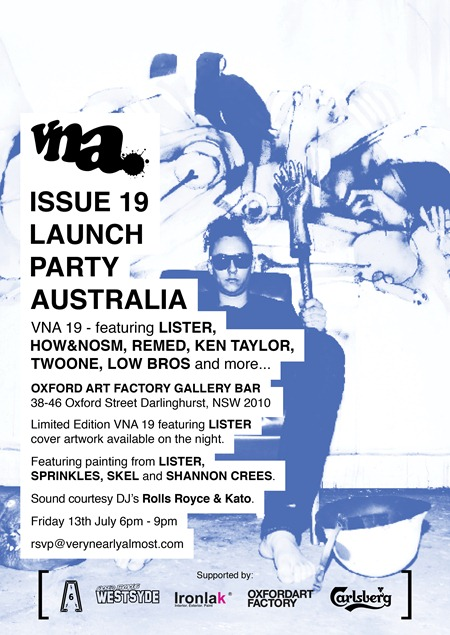 Flyer final aus thumb   Launch Party   VNA #19   Sydney   sydney street art genres stencil art genres pasteups genres painting genres magazines live art urban art launch parties illustration genres graffiti genres books