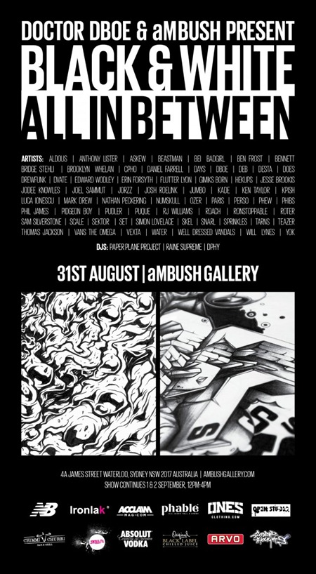 BW Flyer final 1 640x1167 thumb Exhibition Black & White All In Between Sydney in sydney street art genres prints genres painting genres mixed media genres graffiti genres exhibitions