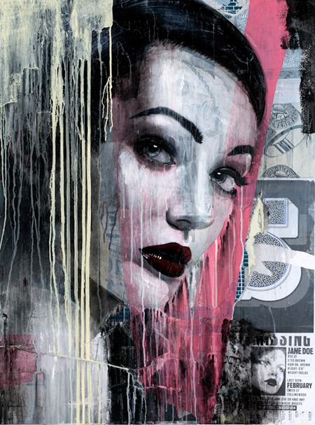 Rone Darkest before the Dawn 48  X 36 48  X 36 2012 thumb   International & Preview   Rone   Darkest Before Dawn   White Walls   San Francisco   street art genres stencil art genres prints genres mixed media genres international graphic design genres exhibitions