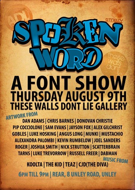 SPOKEN WORD FLYER low res thumb   Exhibition   Spoken Word   TWDL   Adelaide   typography genres painting genres mixed media genres illustration genres fonts exhibitions adelaide