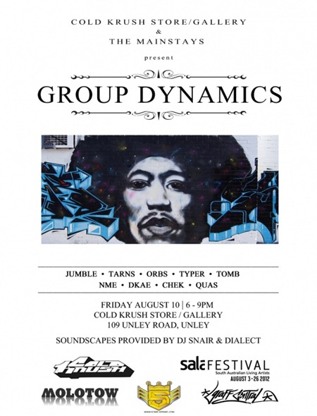 group dynamics final1 thumb   Exhibition   Group Dynamics   The Mainstays   Adelaide   street art genres prints genres painting genres graffiti genres exhibitions adelaide