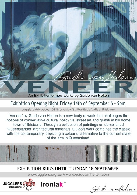 GuidoVanHeltenVENEER WebFLYER thumb Exhibition Guido Van Helten Veneer Brisbane in street art genres painting genres exhibitions brisbane