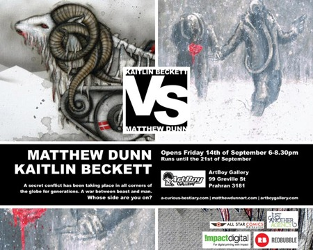 vsflyer thumb Exhibition Kaitlin Beckett vs Matthew Dunn Melbourne in sculpture genres prints genres painting genres mixed media genres melbourne illustration genres exhibitions comics genres