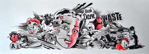 AL A Gosh Darn Waste thumb   Interview   Alex Lehours   sydney street art genres skateboards painting genres melbourne illustration genres artist interviews
