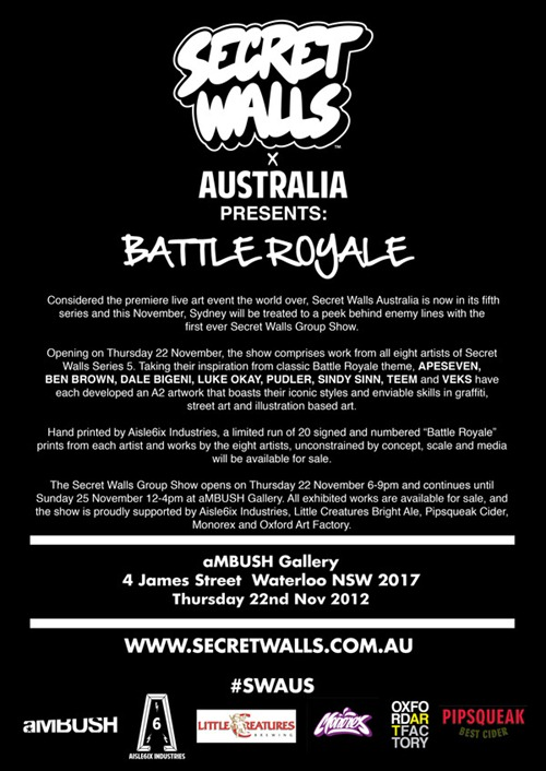 BMD4 thumb Exhibition Secret Walls Battle Royale aMBUSH Gallery Sydney in sydney street art genres painting genres illustration genres graphic design genres exhibitions