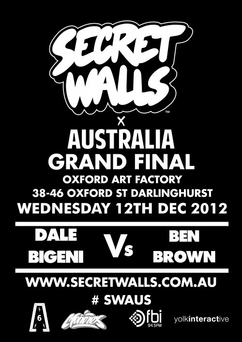 SWS GF DB v BB e1355270259907 Event & Live Art Secret Walls Sydney Grand Final Dale Bigeni vs Ben Brown in sydney painting genres live art urban art illustration genres events
