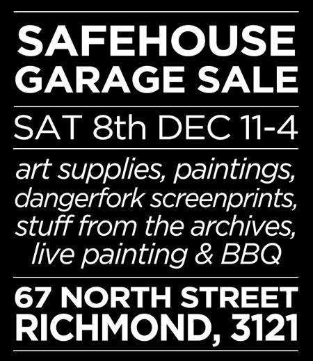 garage sale poster1 thumb Event & Exhibition Safehouse Super Garage Sale Melbourne in studios street art genres stencil art genres skateboards prints genres painting genres mixed media genres melbourne illustration genres graphic design genres graffiti genres exhibitions artist news events