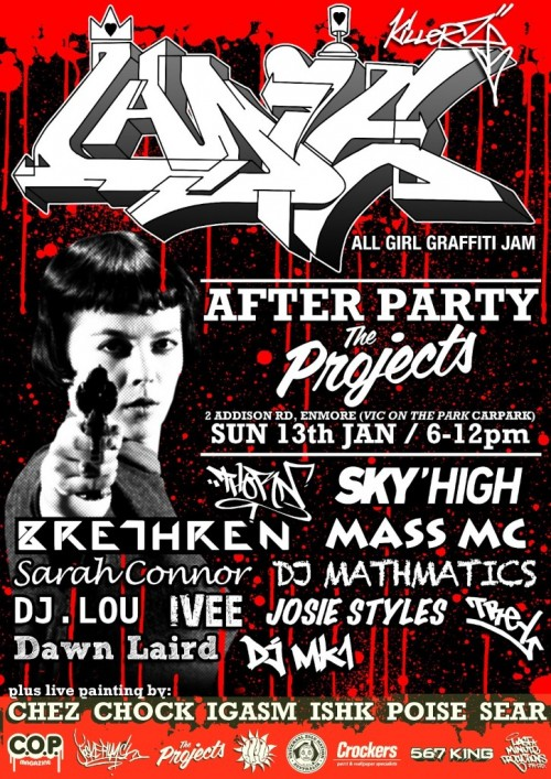 lkafterparty Custom e1357637373591   Event & Live Art   Ladie Killerz #6 After Party   Sydney   sydney live art urban art graffiti genres exhibitions