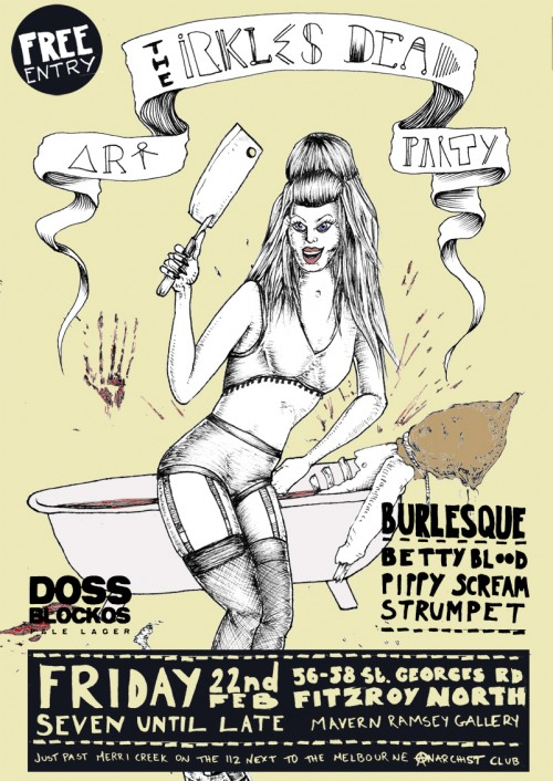 Flyer info 500x706 Event Irkles Dead Art Party Fitzroy North Melbourne in live art urban art events