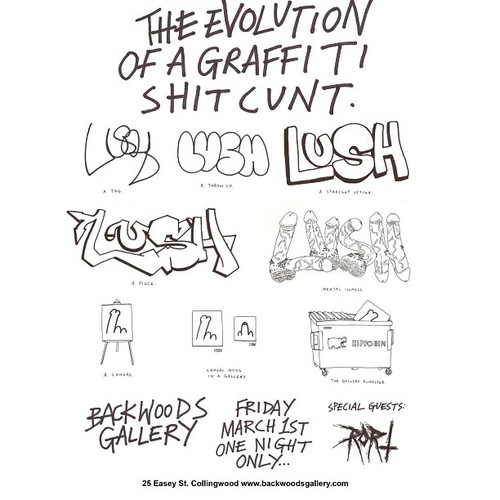 LUSH - EVOLUTION OF A GRAFFITI SHIT CUNT - Flyer