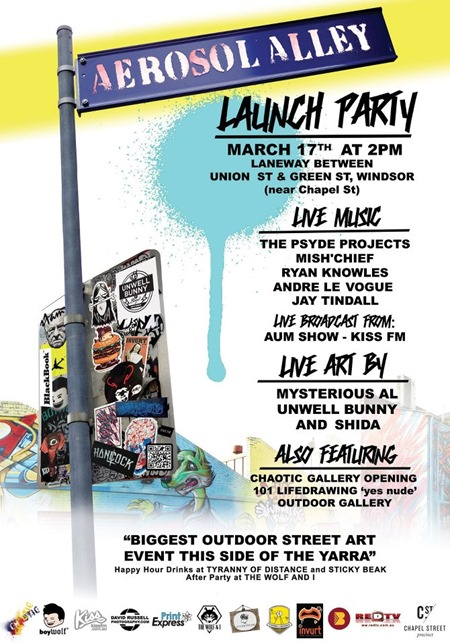 225049 10100655731311152 1898805241 n thumb   Feature Event & Live Art   Aerosol Alley Launch Party   Melbourne   studios street art genres stickers genres stencil art genres pasteups genres painting genres melbourne live art urban art launch parties graffiti genres exhibitions events