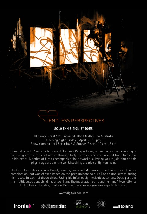 does flyer incl text 165x240 500x727 Exhibition DOES Endless Perspectives Collingwood Melbourne in painting genres melbourne international graffiti genres exhibitions