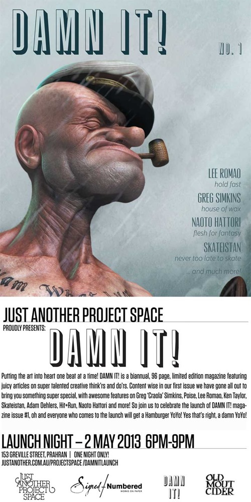 damn it poster 720 thumb Feature Event Damn It! Magazine Launch Melbourne in painting genres mixed media genres melbourne magazines launch parties international illustration genres graffiti genres fine ary events
