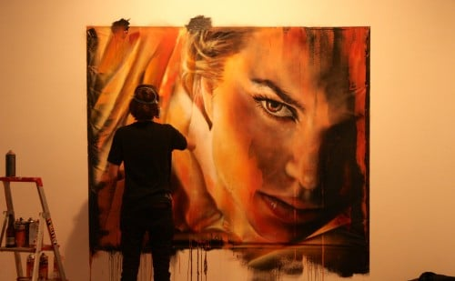 Adnate Painting live at Metro Gallery 3 500x309   Snapshots   Live painting at Metro gallery by Adnate, DVATE and Shida     street art genres melbourne live art urban art graffiti genres exhibitions