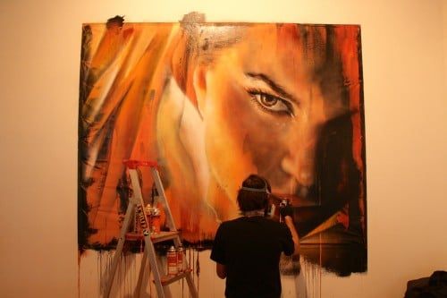 Adnate Painting live at Metro Gallery 500x333   Snapshots   Live painting at Metro gallery by Adnate, DVATE and Shida     street art genres melbourne live art urban art graffiti genres exhibitions