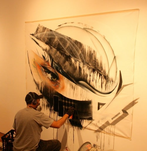 DVATE Painting live at Metro Gallery 2 500x516   Snapshots   Live painting at Metro gallery by Adnate, DVATE and Shida     street art genres melbourne live art urban art graffiti genres exhibitions