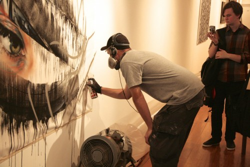 DVATE Painting live at Metro Gallery 3 500x333   Snapshots   Live painting at Metro gallery by Adnate, DVATE and Shida     street art genres melbourne live art urban art graffiti genres exhibitions