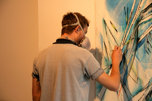 Shida Painting live at Metro Gallery 500x333   Snapshots   Live painting at Metro gallery by Adnate, DVATE and Shida     street art genres melbourne live art urban art graffiti genres exhibitions
