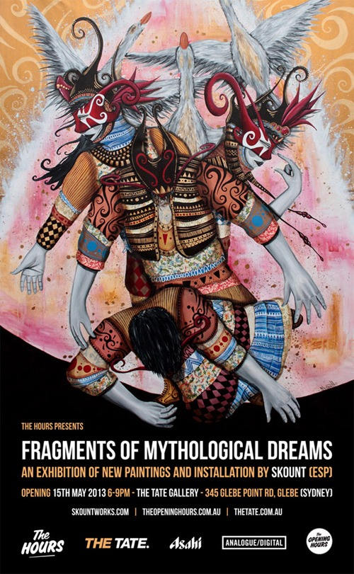 skount0 thumb   Exhibition   Skount   Fragments Of Mythological Dreams   The Tate   Sydney   sydney street art genres painting genres international installations genres exhibitions