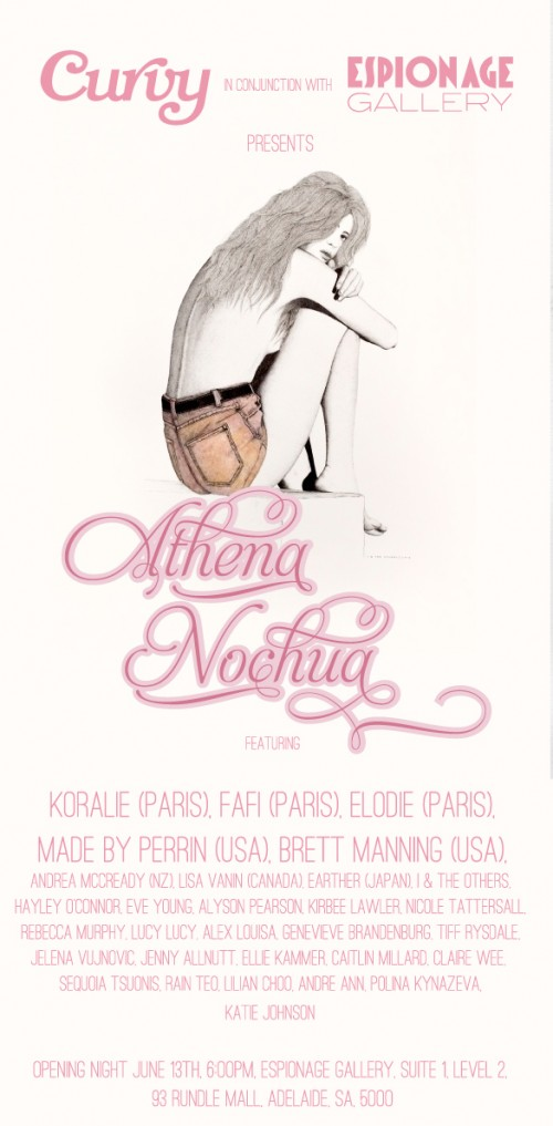 Athena Nochua Flyer Final Outlines 500x1017 Exhibition CURVY and Espionage Gallery present Athena Nochu – Group Show Espionage Gallery – Adelaide in exhibitions adelaide