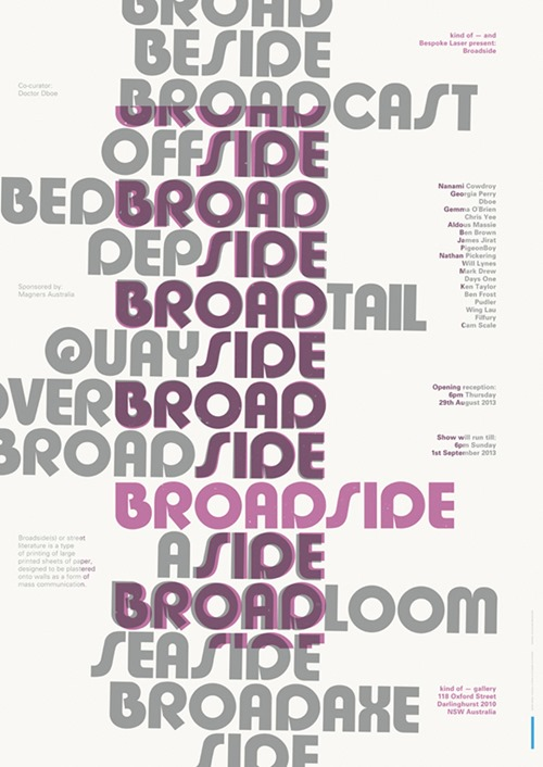BROADSIDE 600PX thumb Exhibition Broadside Kind Of Gallery Sydney in sydney prints genres paper art illustration genres graphic design genres exhibitions