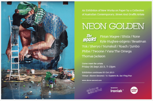 The Hours flyer e1377579311785 thumb Exhibition Neon Golden Hong Kong in street art genres international installations genres illustration genres graffiti genres exhibitions