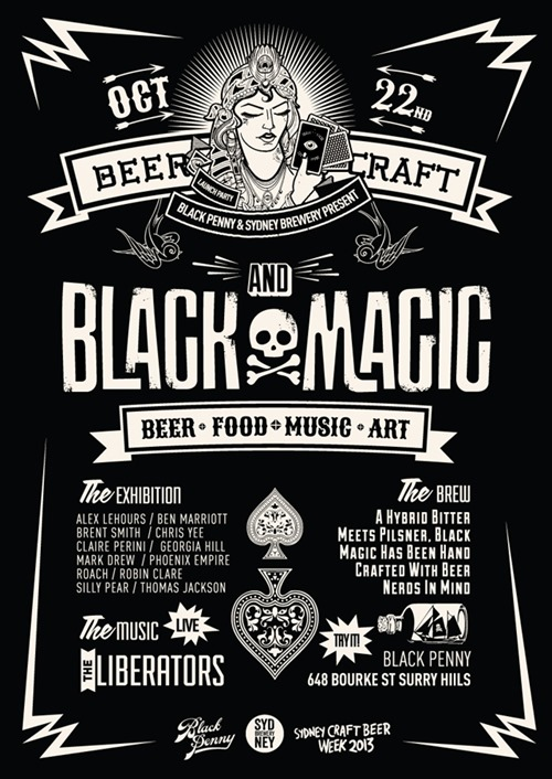 Black Magic Launch Flyer thumb Exhibition Black Magic Sydney Brewery Black Penny Sydney in sydney painting genres launch parties exhibitions