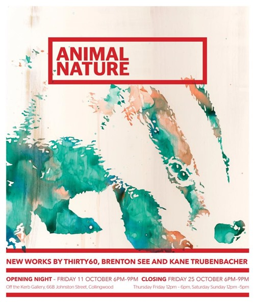 animalnature thumb Exhibition Brenton See thirty60 Kane Trubenbacher Animal Nature Melbourne in stencil art genres painting genres melbourne illustration genres exhibitions