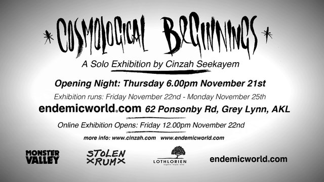 Exhibition – Cinzah Seekayem – Cosmological Beginnings – Auckland