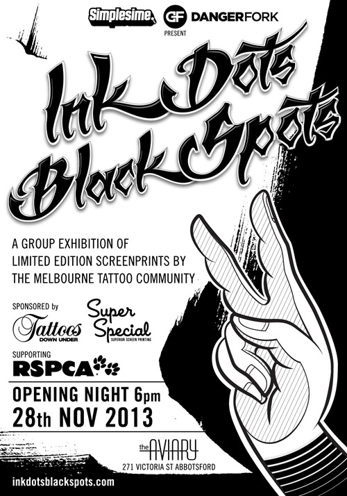 ink dots black spots IDBS2 Flyer A6 Fnl thumb Exhibition Ink Dots Black Spots 2 Melbourne in tattoos genres prints genres melbourne illustration genres exhibitions