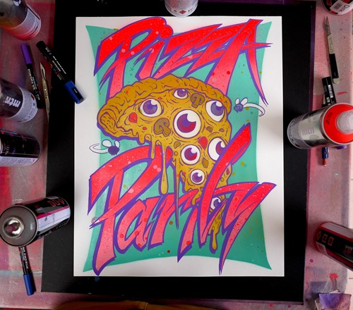 000PIZZAPARTY INSTA thumb Exhibition The Night Nico Ox SMC[3] Sydney in typography genres sydney illustration genres graphic design genres exhibitions