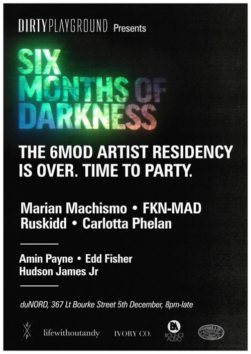 6mod 500x706 Exhibition 6MOD The End of Darkness du NORD Melbourne in video art typography genres stencil art genres painting genres mixed media genres melbourne exhibitions events